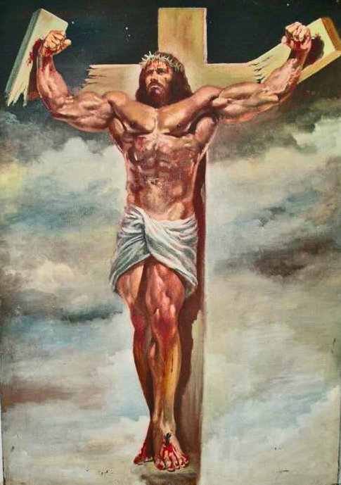 muscular jesus breaking cross